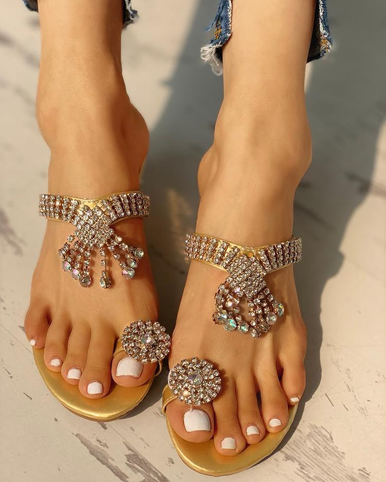 Studded Design Casual Heeled Sandals 11