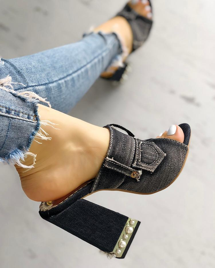 Denim Peep Toe Chunky Heeled Sandals