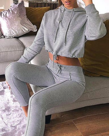 Solid Drawstring Design Hoodie & High Waist Slinky Pant Sets