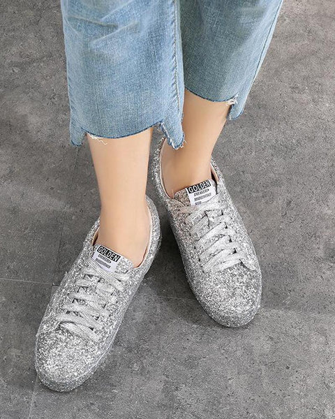 Silver Glitter Lace-Up Sneaker