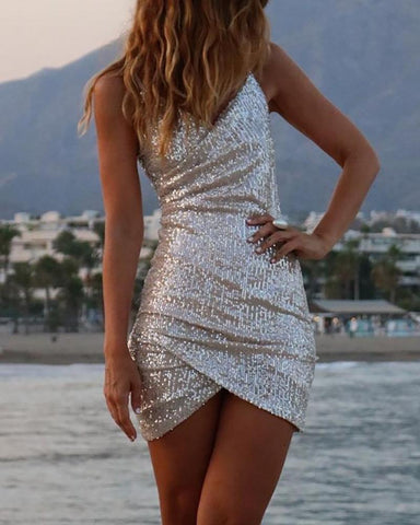 Sequins Spaghetti Strap Ruched Backless Dress