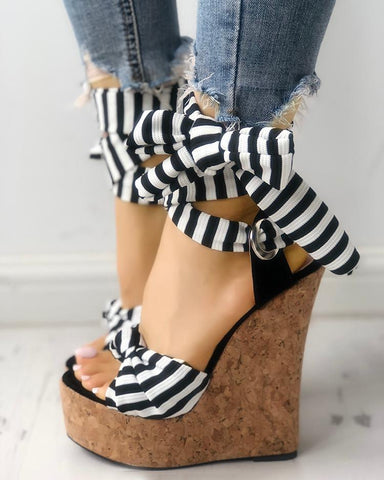 Striped Bowknot Peep-toe Platform Wedge Sandals