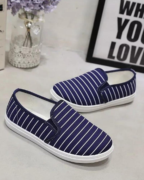 Lazy casual student canvas stripe loafers  flat shoes