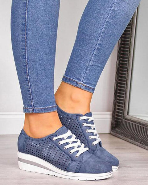 Solid Perforated Lace-Up Sneakers