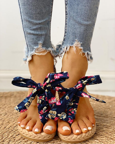 Floral Print Knotted Toe Ring Casual Sandals