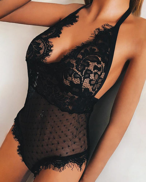 Eyelash Lace See Through Teddy Bodysuit