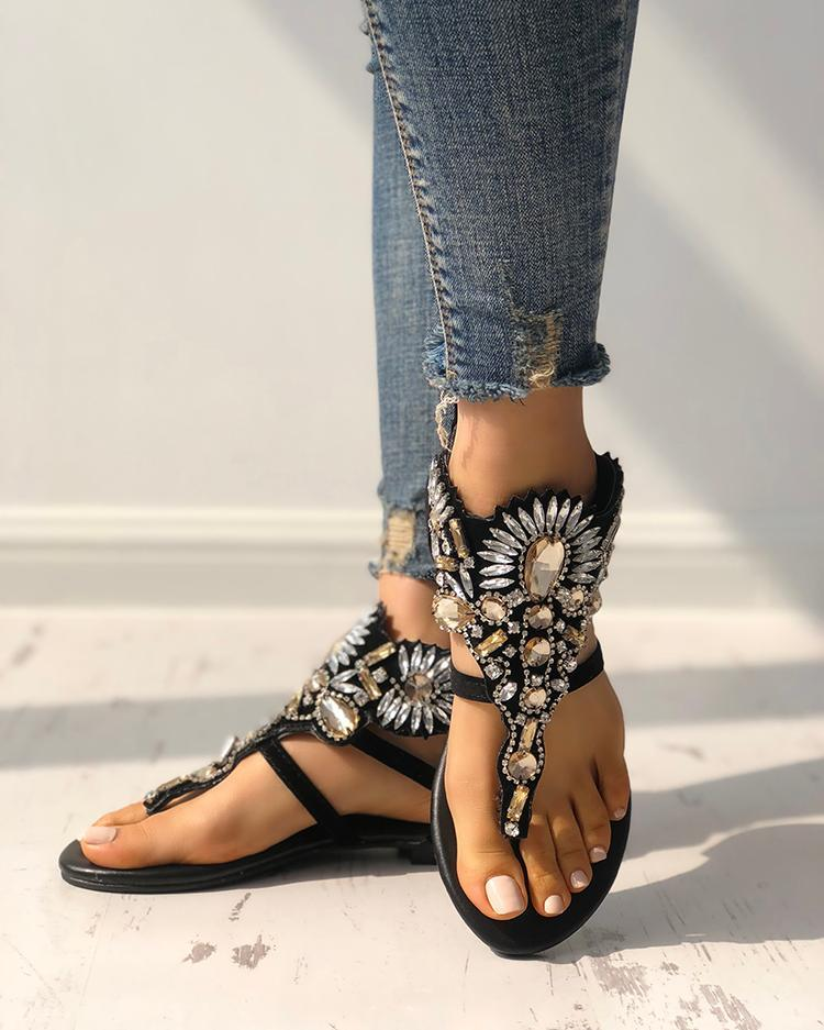 Exaggerated Shiny Patchwork Toe Post Flat Sandals