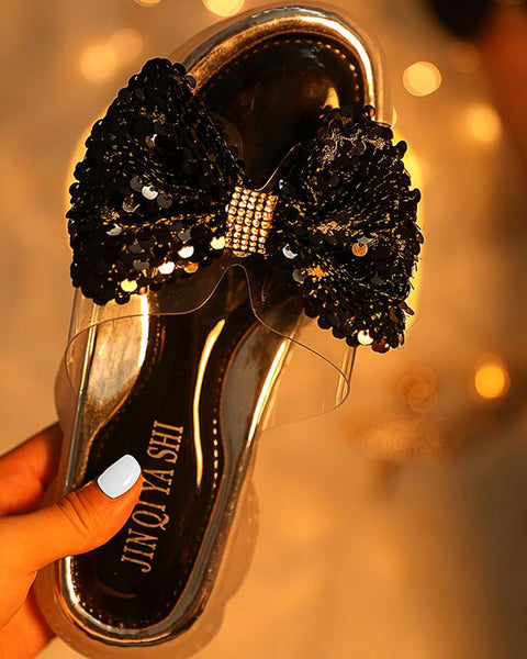 Sequins Bowknot Design Casual Sandals