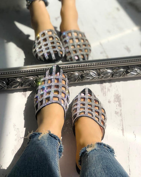Glittering Hollow Out Pointed Toe Flat Sandals
