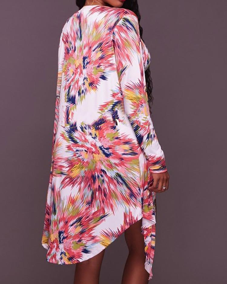 Abstract Print Lace Up One-Piece With Cover Up