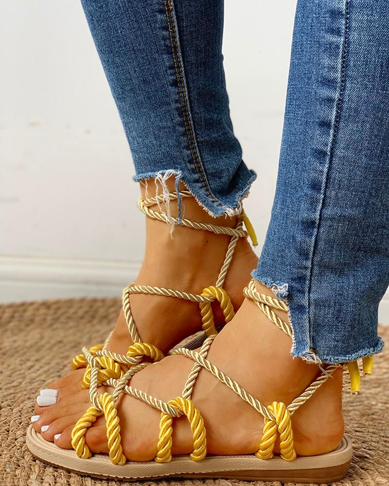 Rope Design Lace-Up Knotted Flat Sandals