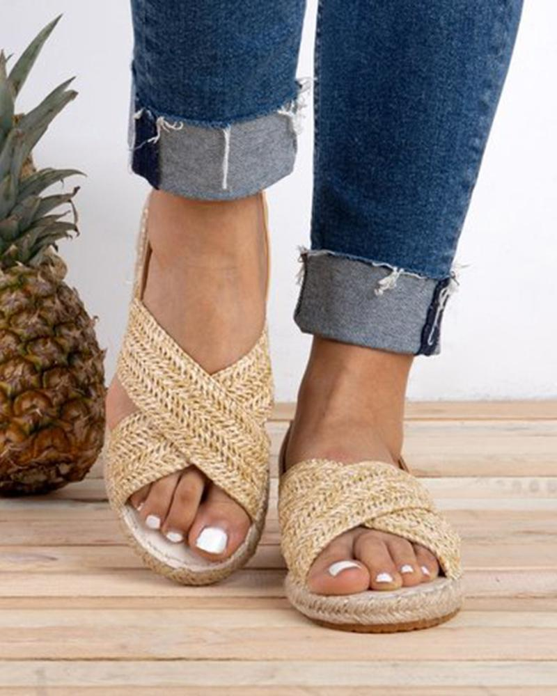 Cross Woven Flat Sandals 8