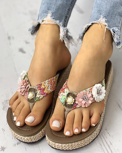 Toe Post Flower Braided Flat Sandals