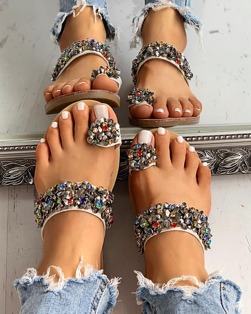 Studded Detail Toe Ring Flat Sandals 4