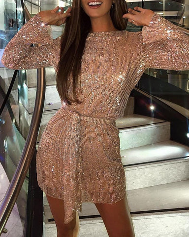 Glitter Round Neck Long Sleeve Sequins Bodycon Dress