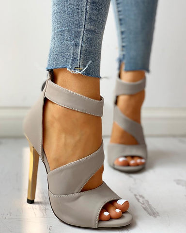 Solid Peep Toe Buckled Thin Heels