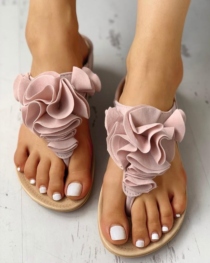 Ruched Flower Embellished Toe Post Flat Sandals 10