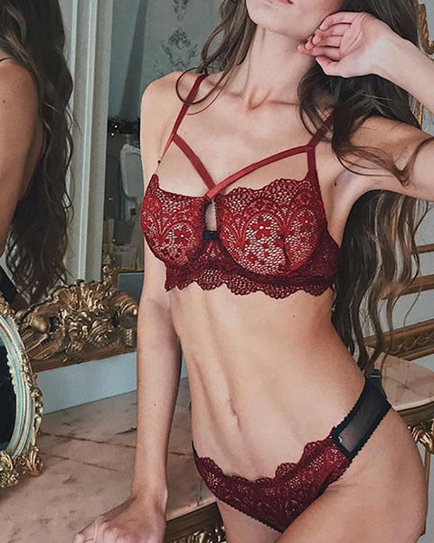 Crisscross Scalloped Lace Trim Lingerie Set