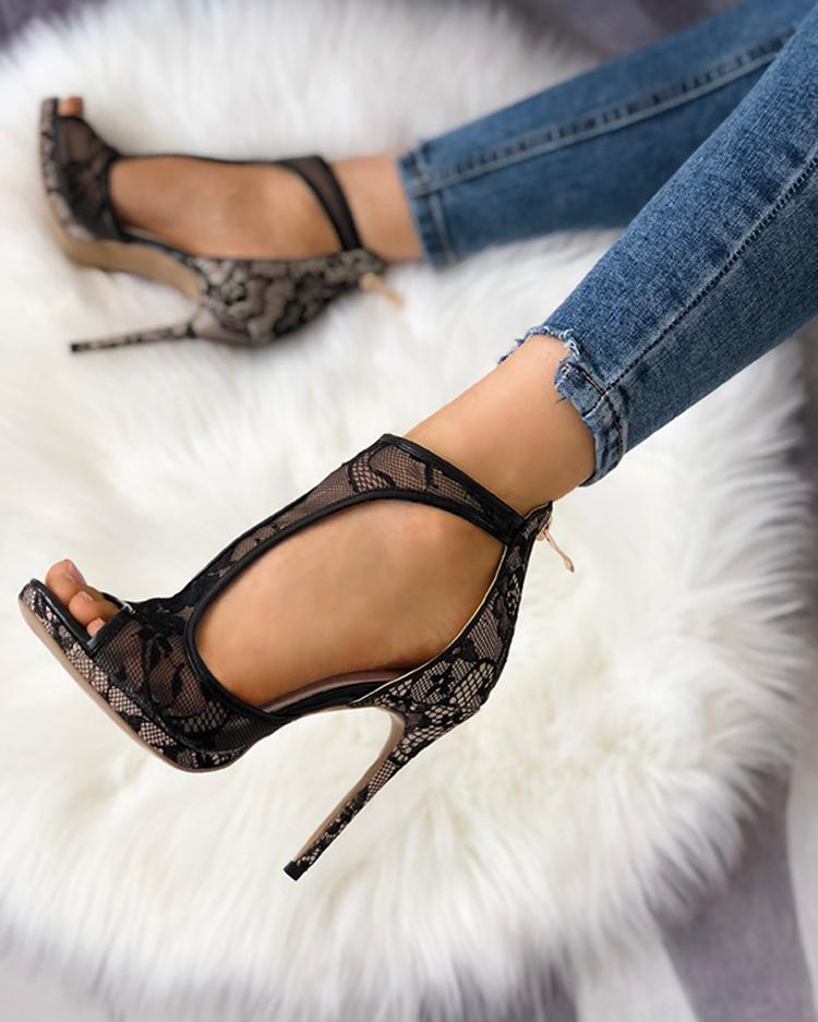 Open Toe Cutout Lace Thin Heel Sandals 1