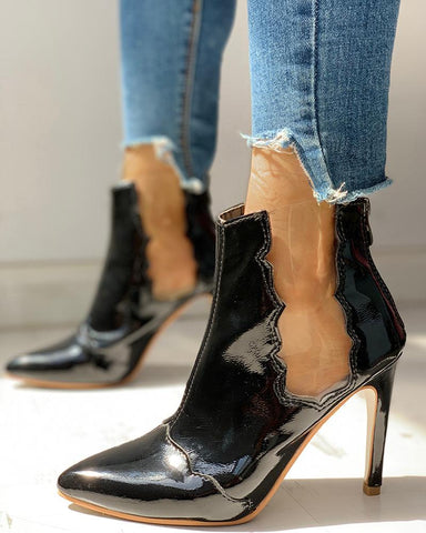 Solid Patchwork See Through Thin Heels Boots
