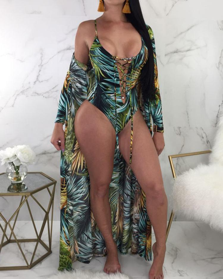 2PCs Lace-up Print One-piece Swimwear Cover Ups 3