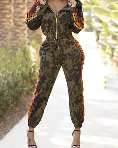 Camouflage Striped Tape Zipper Coat & Drawstring Pant Sets
