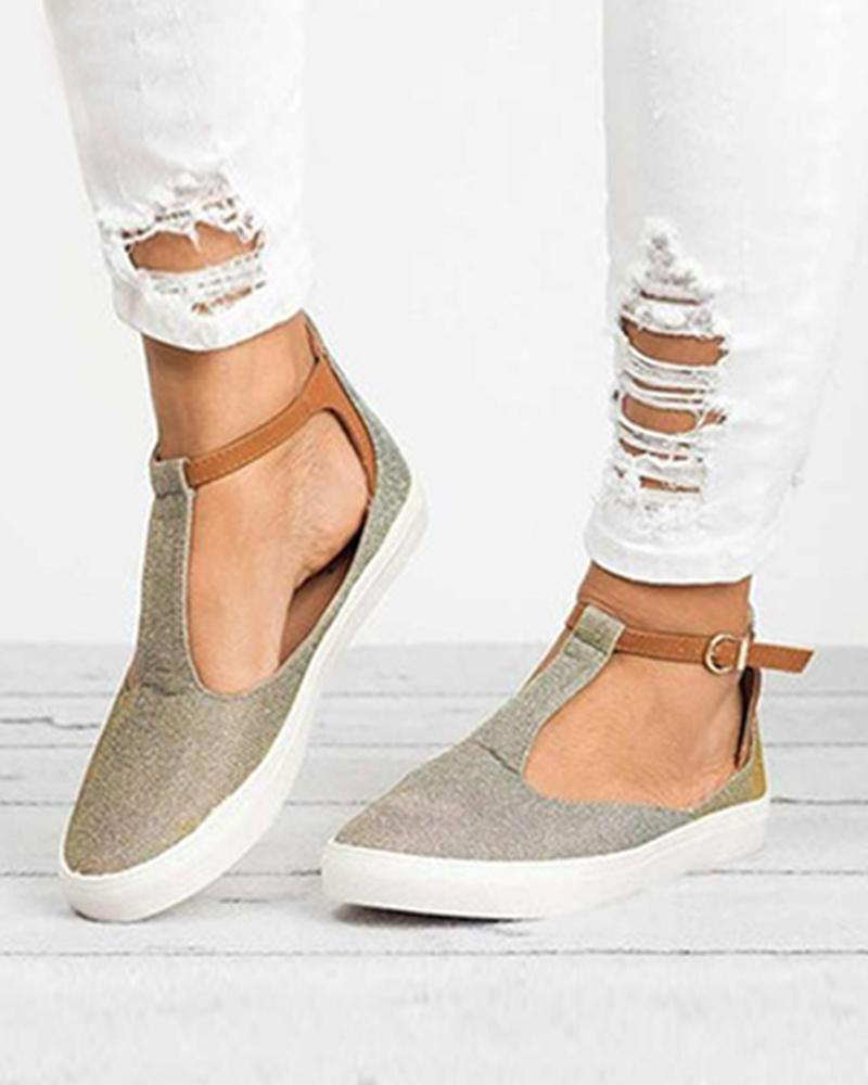 Summer new round head casual flat Lok Fu shoes large size women's shoes