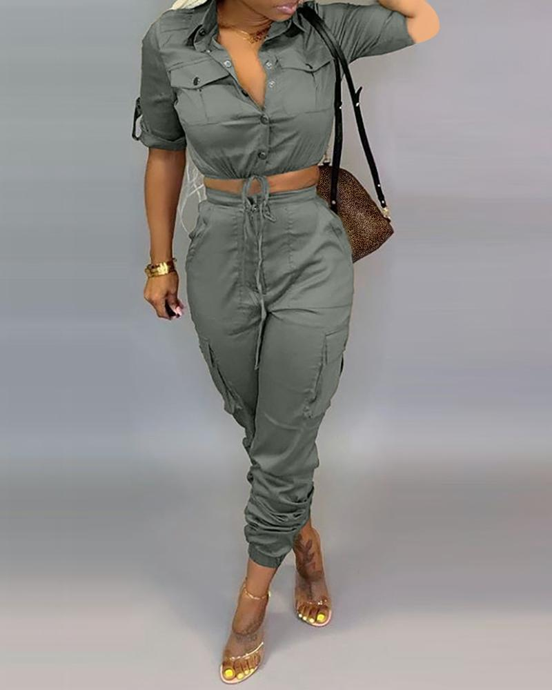 Buttoned Pocket Design Drawstring Cargo Top & Pants Sets