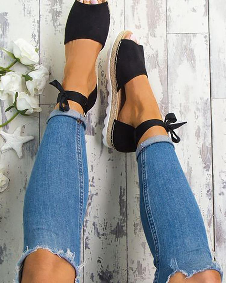 Stylish Open Toe Bandage Flat Sandals