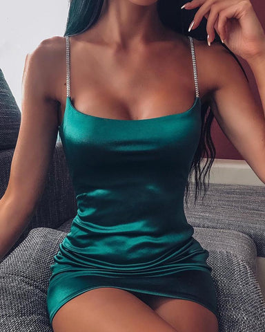 Solid Bodycon Satin Cami Dress