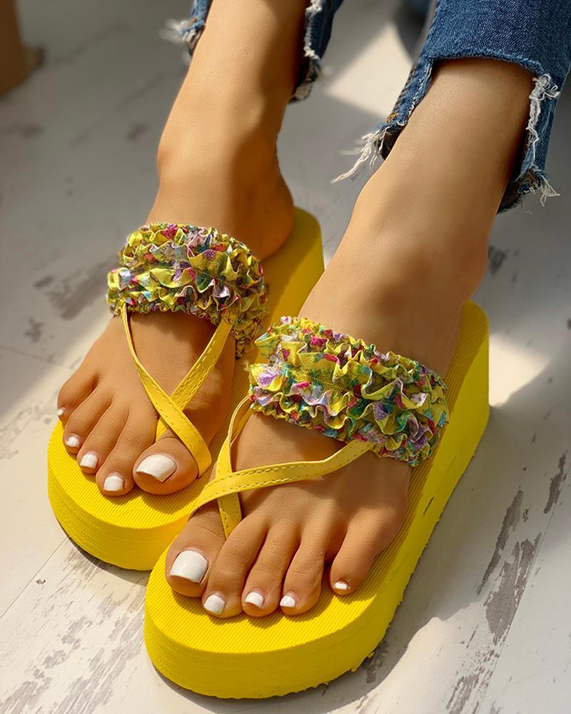 Toe Ring Print Frill Hem Platform Casual Sandals