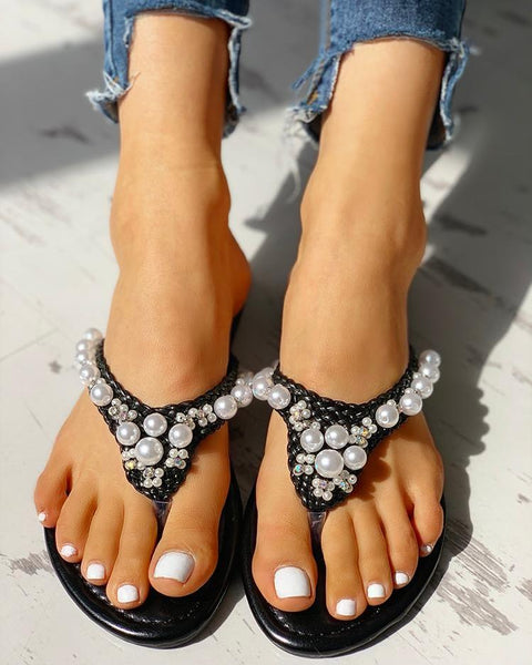 Beaded Design Braided Casual Flat Sandals