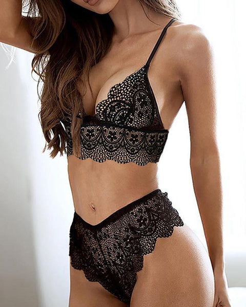 Sexy See Through Lace Strappy Lingerie Sets
