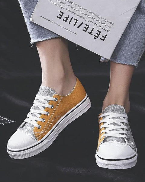 Two-Tone Lace-Up Sneaker