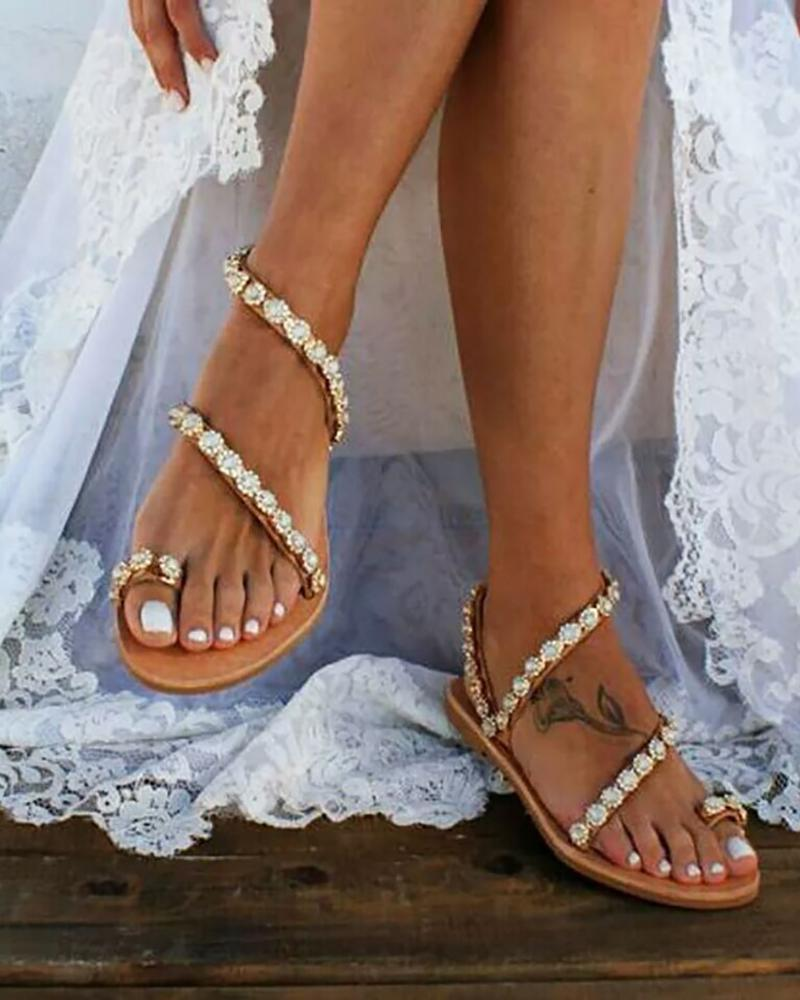 Studded Detail Toe Ring Flat Sandals
