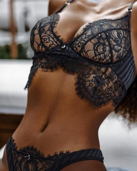 Sheer Floral Eyelash Lace Lingerie Sets