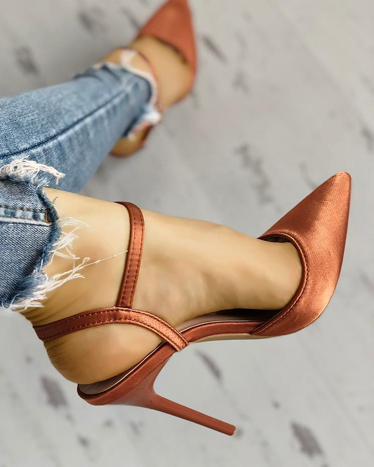 Satin Ankle Buckle Pointed Toe Thin Heeled Sandals 14