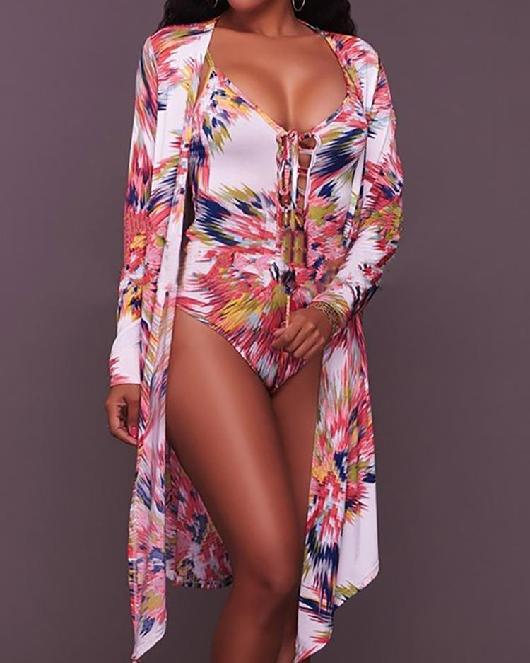Abstract Print Lace Up One-Piece With Cover Up 6
