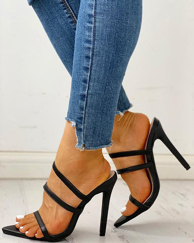Multi-Strap Convertible Thin Heeled Sandals
