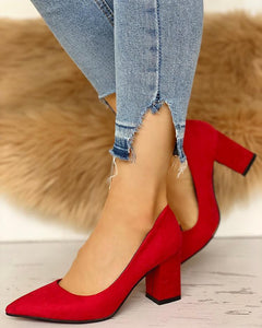 Suede Pointed Toe Chunky Heels