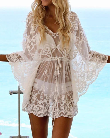 Sexy Crochet Lace See Through Beachwear Cover Ups