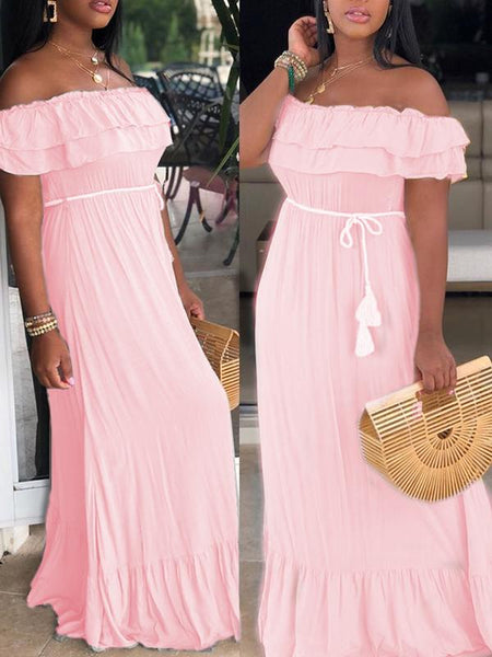 Ruffled Solid Color Maxi Dress With Belt
