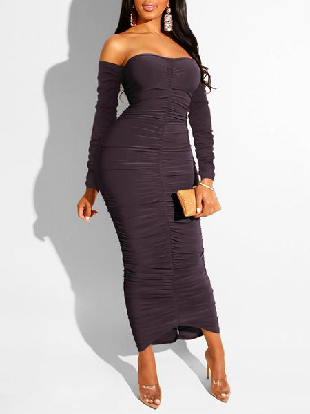 Solid Color Strapless Draped Dress