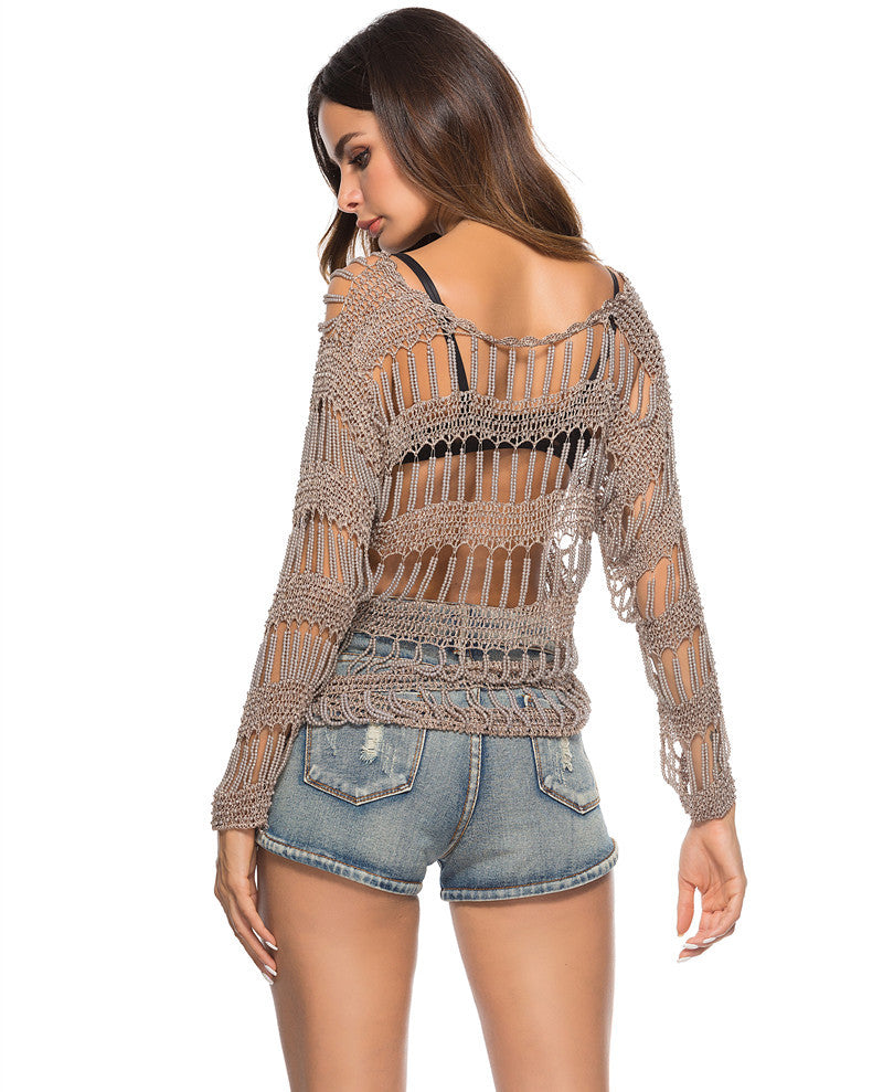 See Through Look Swimming Cover Up Crochet Beach Shirt Swimming Cover Ups