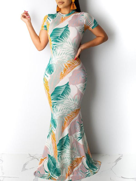 Leaf Printed Hollow Out Bodycon Maxi Dress