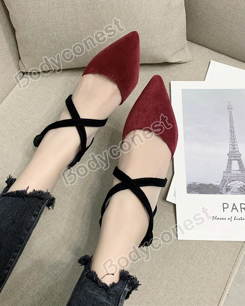 Cross Strap Ladies High Heel Sandals Cat Heel Women Sexy Pumps 8