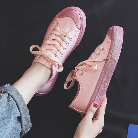 Spring Summer Fashion Pink Korean Style Women Canvas Shoes Flats Women Casual Fashion Sneakers