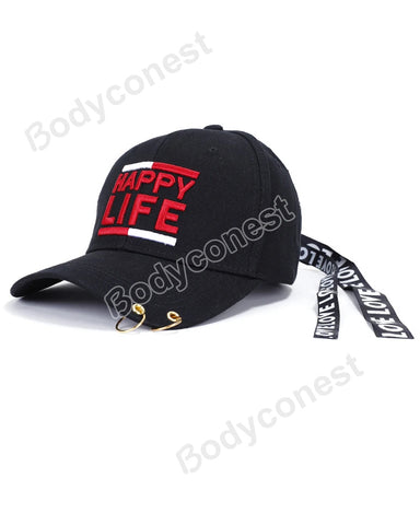 Fashion Hip Hop Letter Eembroidery Iron Ring Baseball Cap Ribbon Hats Outdoor Sports Caps