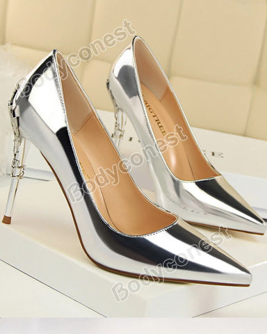 Fashion Sexy Metal Women's Shoes Stiletto High-heeled Shallow Mouth Pointed Pumps
