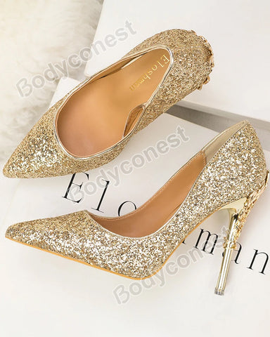 Fashion Sexy Nightclub Women's Shoes Metal Stiletto High Heels Pointed Toe Sequined Pumps